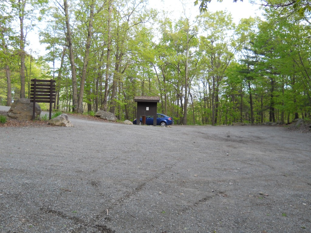 Main parking lot at Wrentham State Forest.