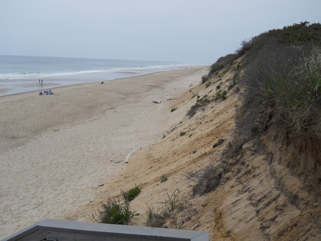 View looking down on Nauset Beach in Eastham, MA