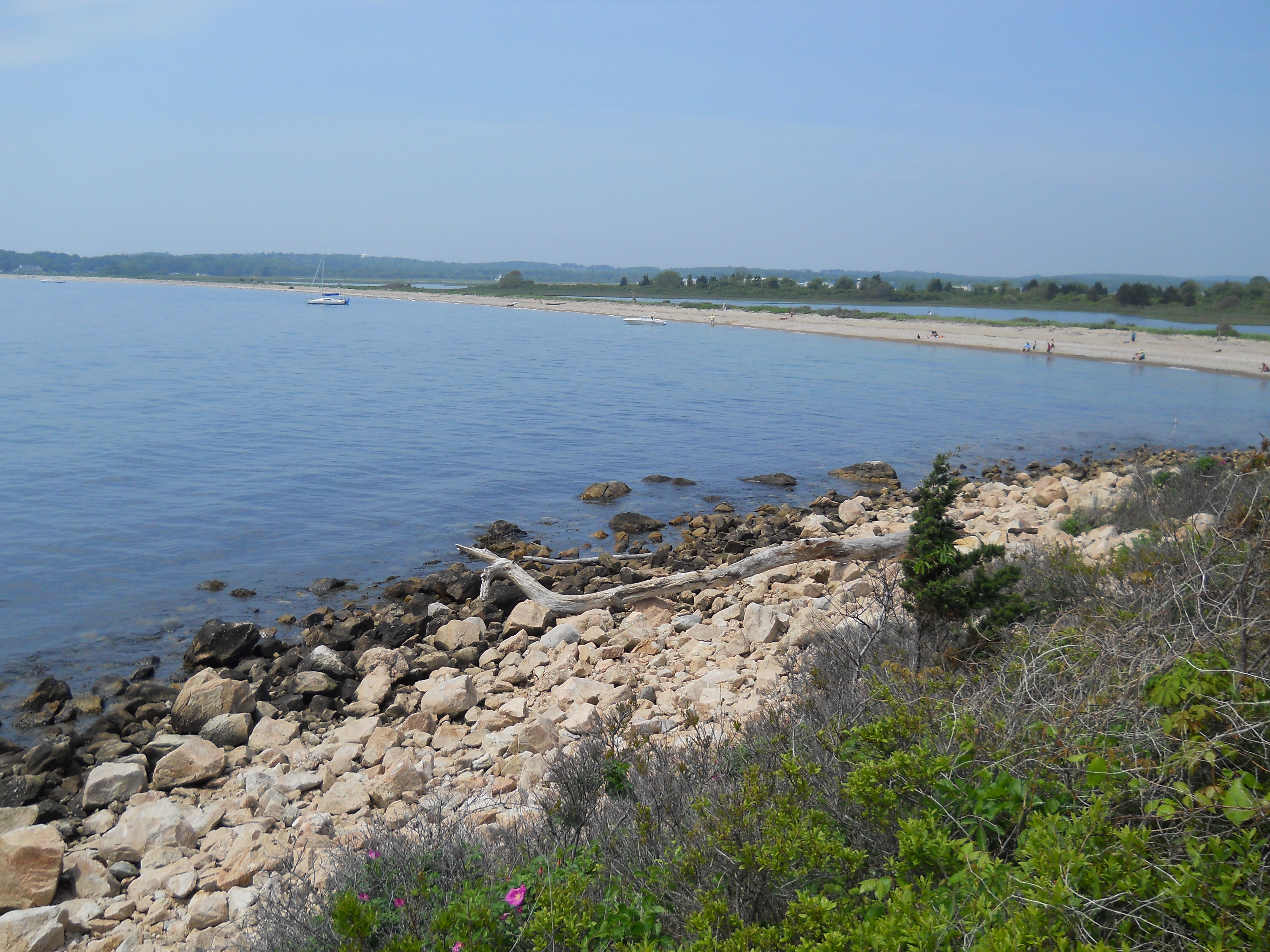 Looking back towards the beach area at Bluff Point State Park