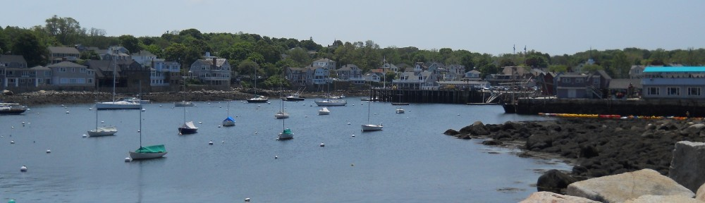 View from Bearskin Neck Jetty in Rockport, MA