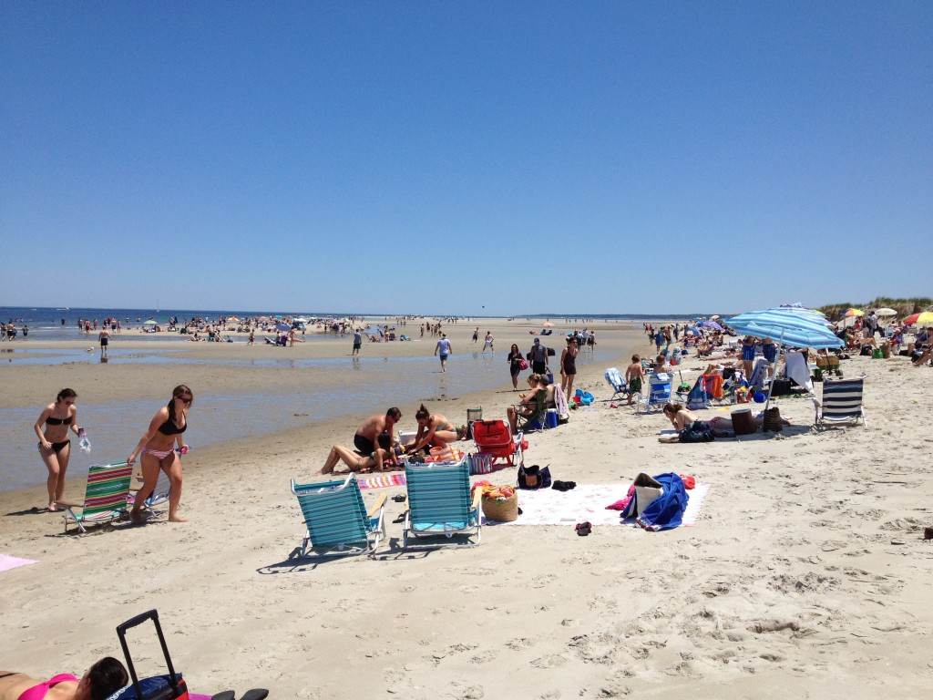 Looking south at Crane Beach on a busy summer weekend day.