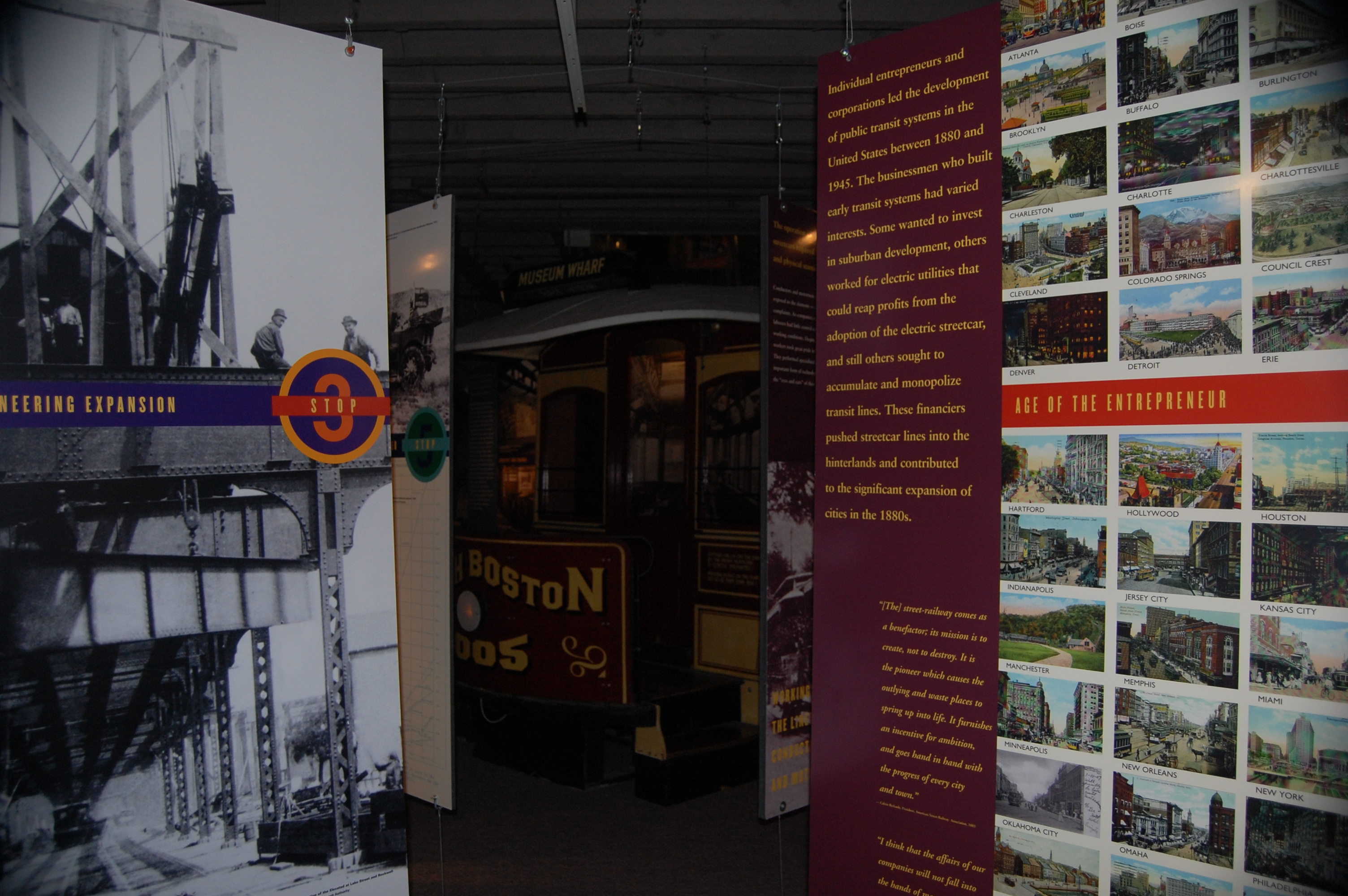National Streetcar Museum exhibit in Lowell.