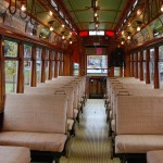 Vintage Electric Streetcar Interior View at Lowell National Historic Park