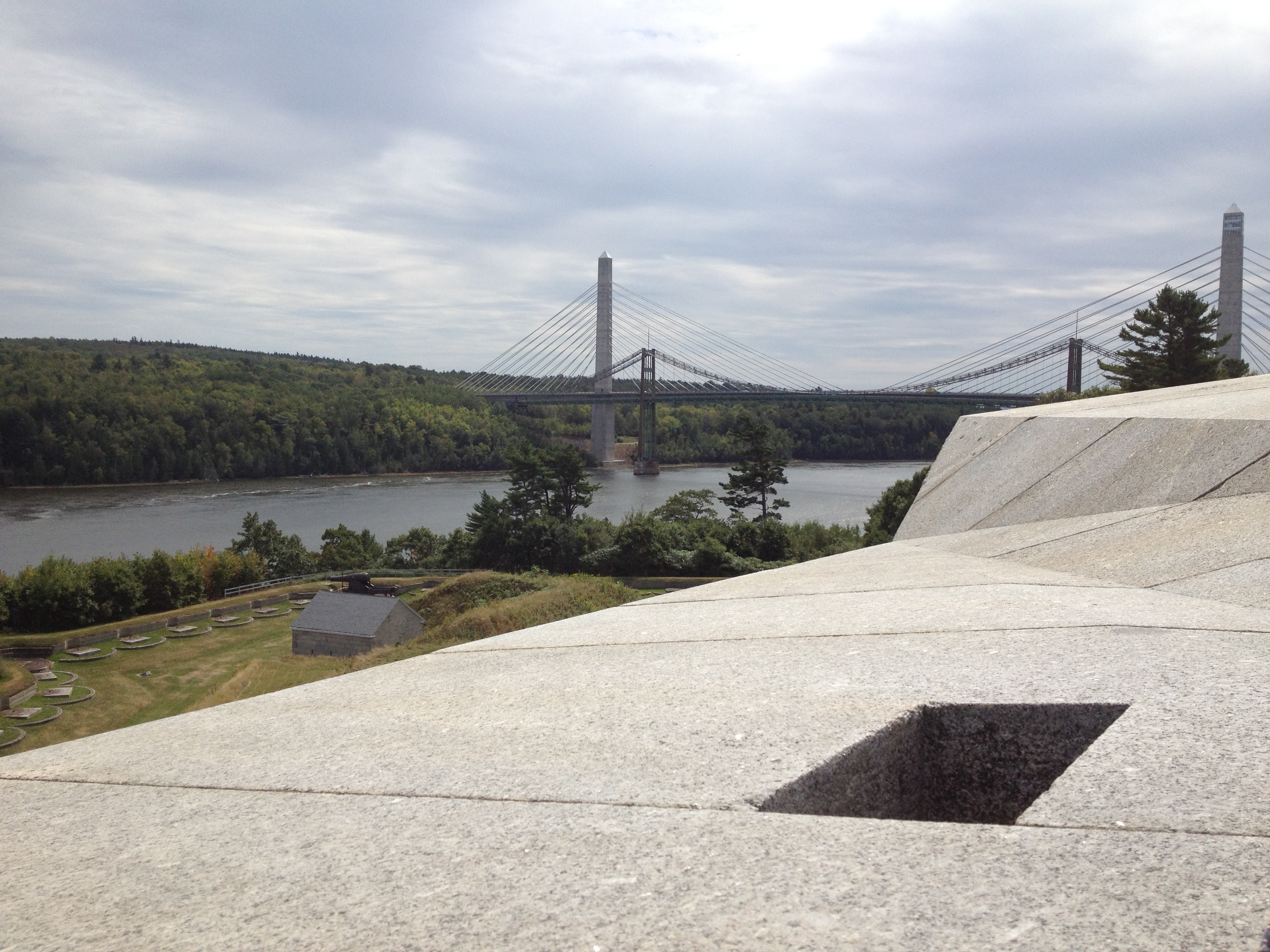 View from Fort Knox looking towards the bridges over the Penobscot Narrows