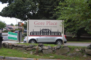 Gore Place sign on Route 20 (Main St.) in Waltham