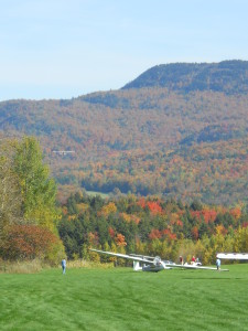 Sugarbush Airport in the middle of fall foliage season.