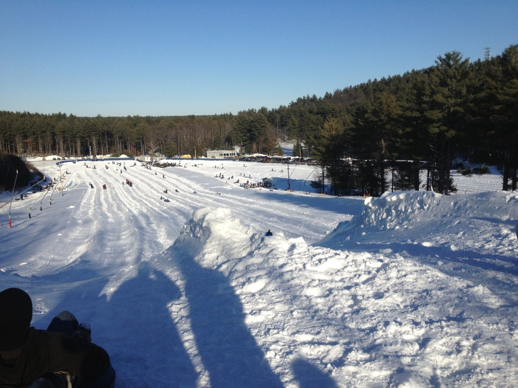 Looking down the tubing tracks at Nashoba Valley